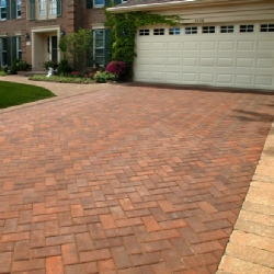 Decorative driveway and garage