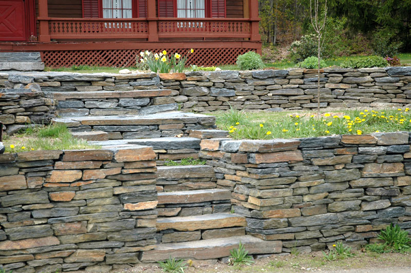 Rock Retaining Wall and steps