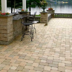 Decorative stone patio and custom wall